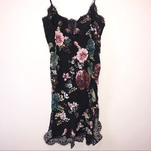 BRAND NEW. Black silk floral print dress.